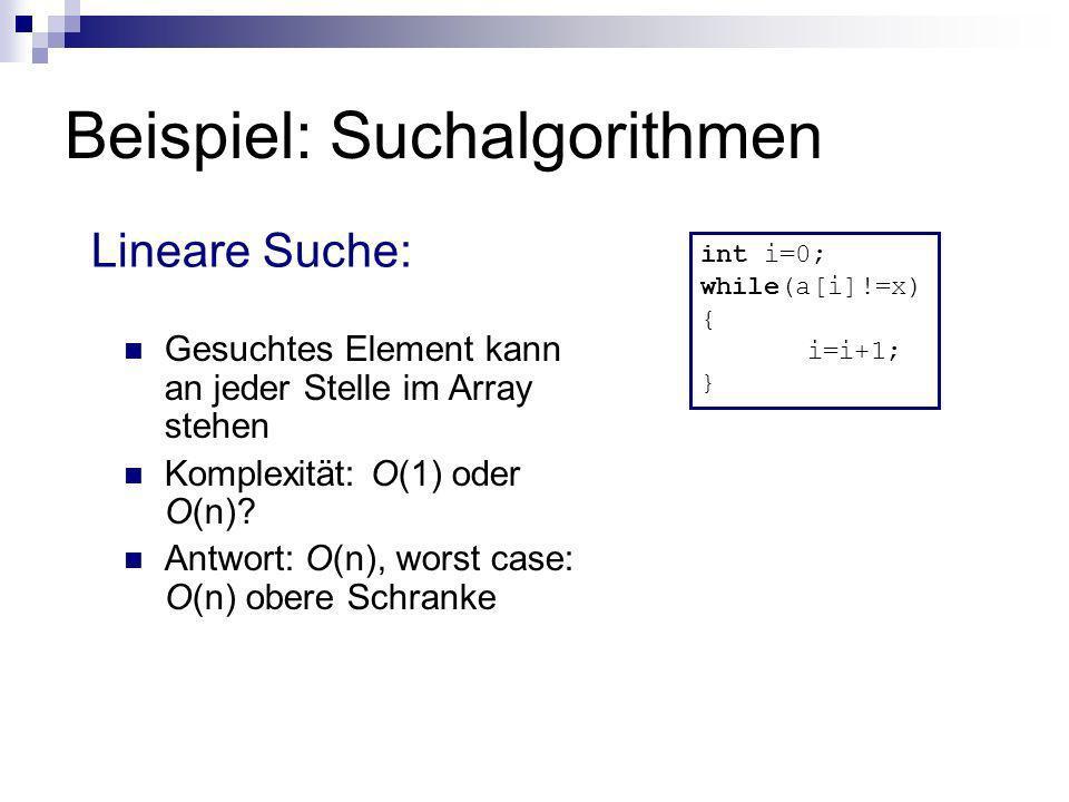 Beispiel: Suchalgorithmen Lineare Suche: int i=0; while(a[i]!=x) { i=i+1; } Gesuchtes Element kann an jeder Stelle im Array stehen Komplexität: O(1) o