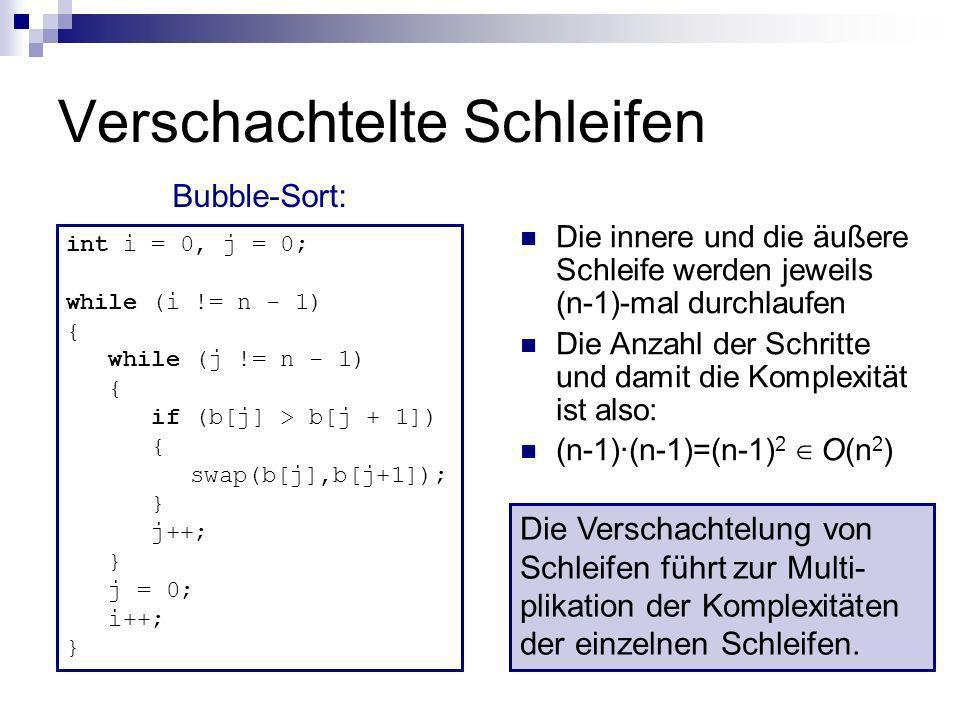 Verschachtelte Schleifen int i = 0, j = 0; while (i != n - 1) { while (j != n - 1) { if (b[j] > b[j + 1]) { swap(b[j],b[j+1]); } j++; } j = 0; i++; }