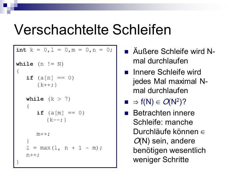 Verschachtelte Schleifen Äußere Schleife wird N- mal durchlaufen Innere Schleife wird jedes Mal maximal N- mal durchlaufen f(N) O(N 2 )? Betrachten in