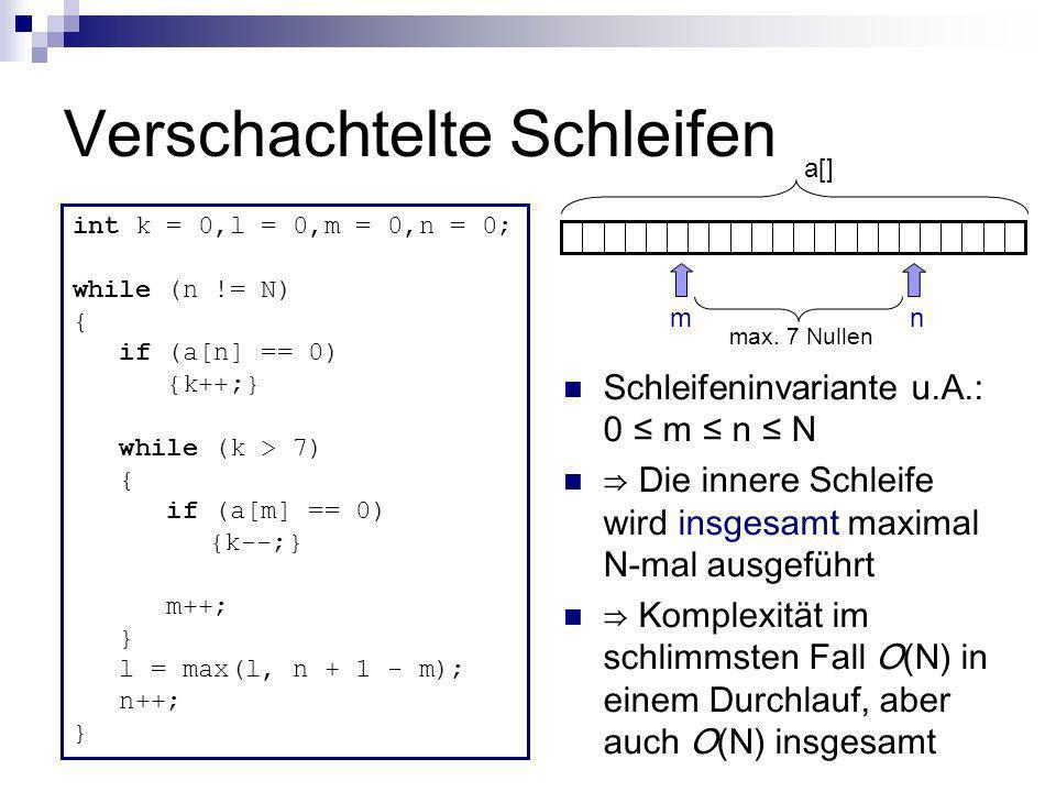 Verschachtelte Schleifen Schleifeninvariante u.A.: 0 m n N Die innere Schleife wird insgesamt maximal N-mal ausgeführt Komplexität im schlimmsten Fall