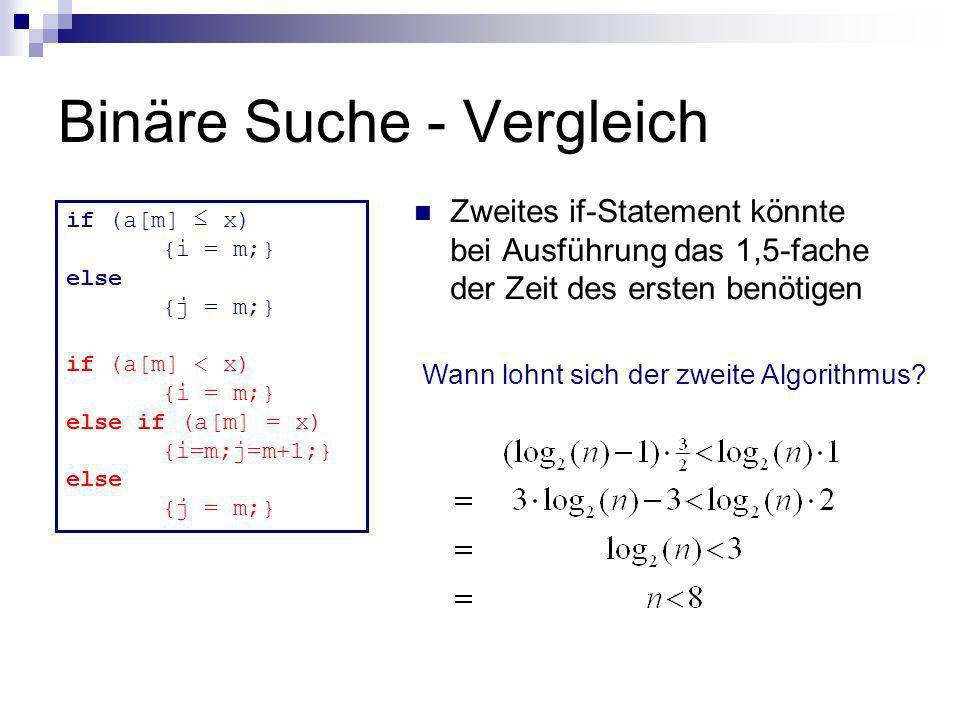 Binäre Suche - Vergleich Zweites if-Statement könnte bei Ausführung das 1,5-fache der Zeit des ersten benötigen if (a[m] x) {i = m;} else {j = m;} if