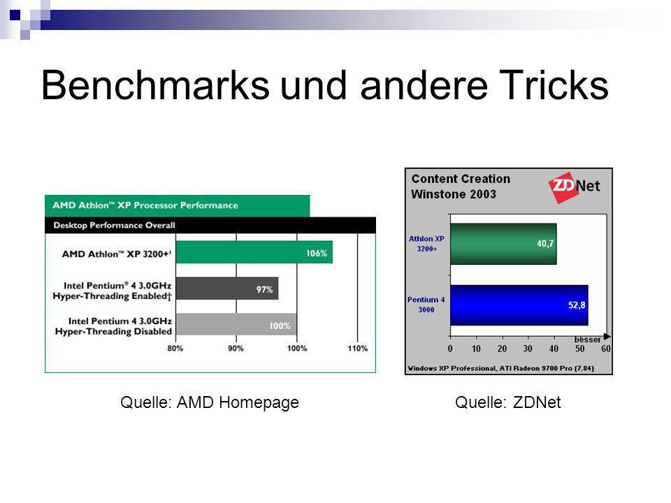 Benchmarks und andere Tricks Quelle: AMD Homepage Quelle: ZDNet