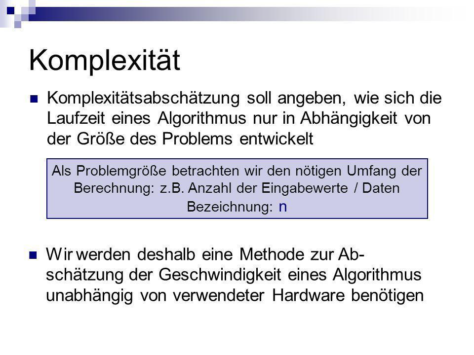 Komplexität Komplexitätsabschätzung soll angeben, wie sich die Laufzeit eines Algorithmus nur in Abhängigkeit von der Größe des Problems entwickelt Wi