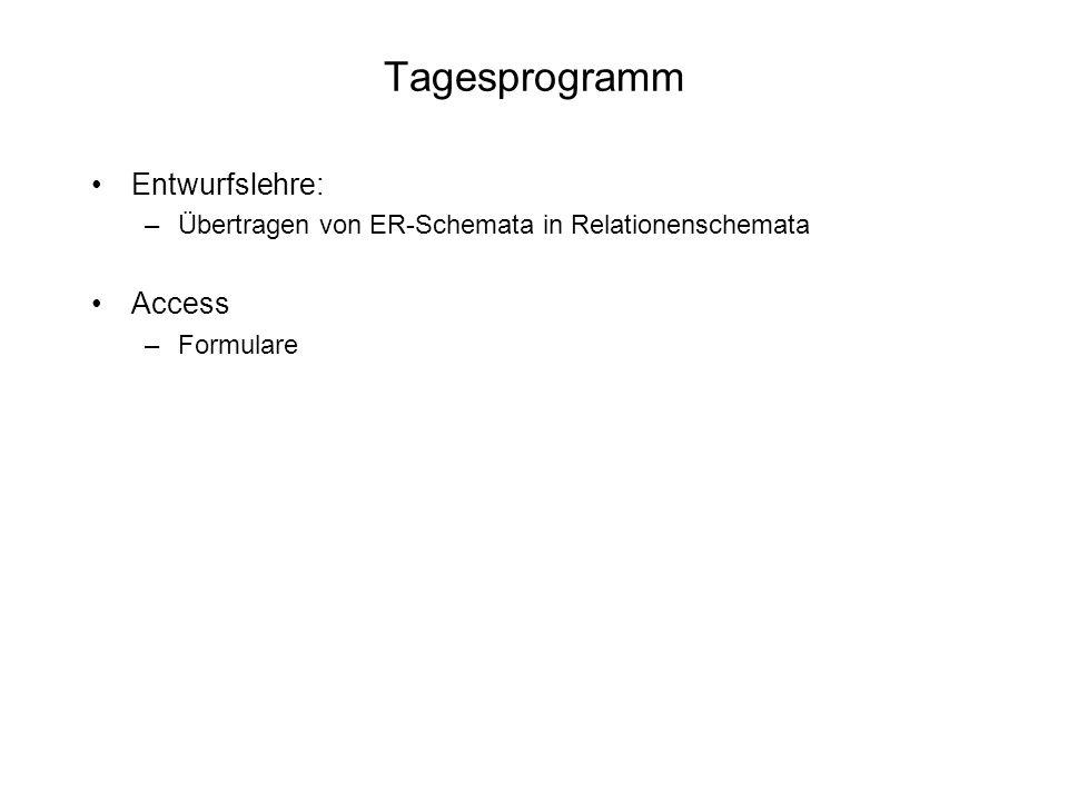 Tagesprogramm Entwurfslehre: –Übertragen von ER-Schemata in Relationenschemata Access –Formulare