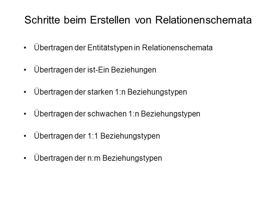 Schritte beim Erstellen von Relationenschemata Übertragen der Entitätstypen in Relationenschemata Übertragen der ist-Ein Beziehungen Übertragen der st