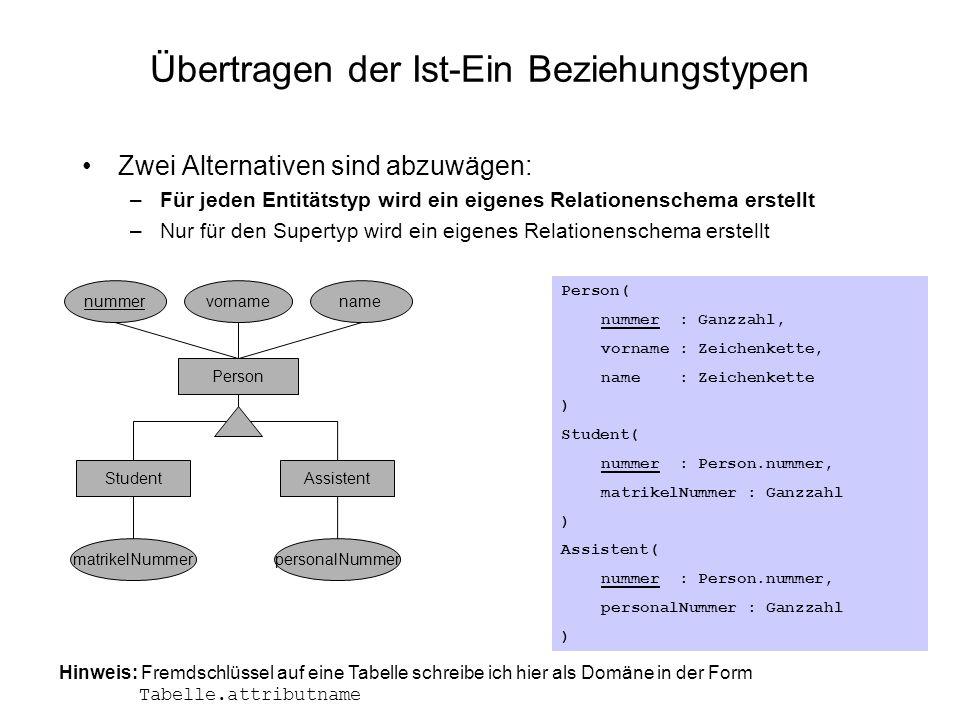 Übertragen der Ist-Ein Beziehungstypen Zwei Alternativen sind abzuwägen: –Für jeden Entitätstyp wird ein eigenes Relationenschema erstellt –Nur für de