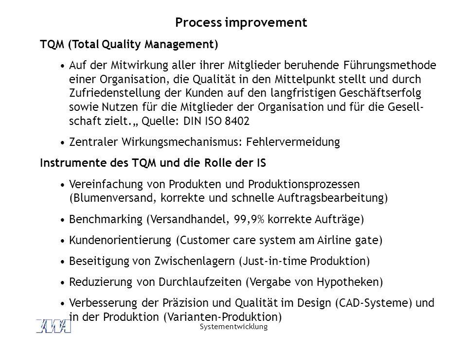 Systementwicklung Process improvement TQM (Total Quality Management) Auf der Mitwirkung aller ihrer Mitglieder beruhende Führungsmethode einer Organisation, die Qualität in den Mittelpunkt stellt und durch Zufriedenstellung der Kunden auf den langfristigen Geschäftserfolg sowie Nutzen für die Mitglieder der Organisation und für die Gesell- schaft zielt.
