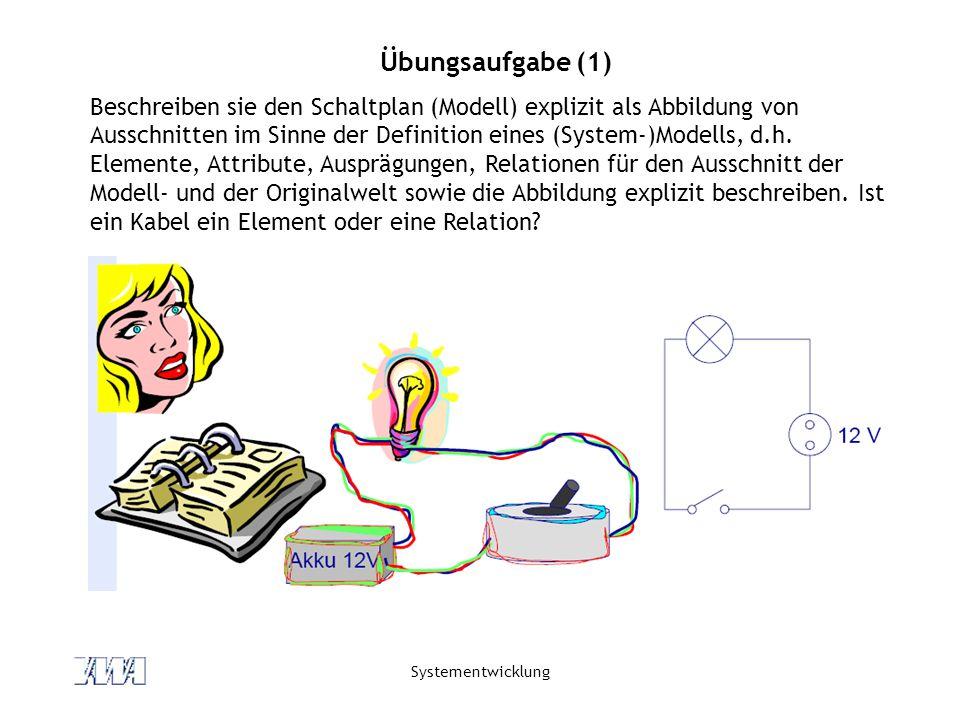 Systementwicklung Übungsaufgabe (1) Beschreiben sie den Schaltplan (Modell) explizit als Abbildung von Ausschnitten im Sinne der Definition eines (System-)Modells, d.h.