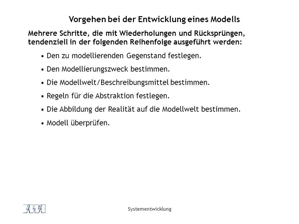 Systementwicklung Vorgehen bei der Entwicklung eines Modells Mehrere Schritte, die mit Wiederholungen und Rücksprüngen, tendenziell in der folgenden Reihenfolge ausgeführt werden: Den zu modellierenden Gegenstand festlegen.