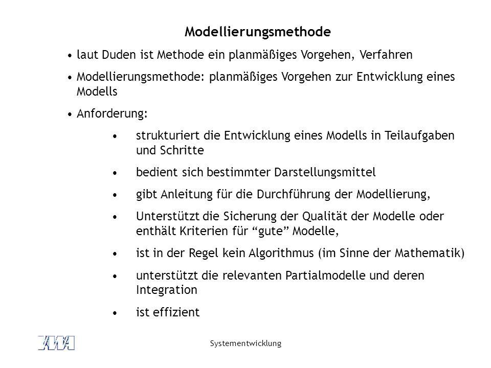 Systementwicklung Modellierungsmethode laut Duden ist Methode ein planmäßiges Vorgehen, Verfahren Modellierungsmethode: planmäßiges Vorgehen zur Entwicklung eines Modells Anforderung: strukturiert die Entwicklung eines Modells in Teilaufgaben und Schritte bedient sich bestimmter Darstellungsmittel gibt Anleitung für die Durchführung der Modellierung, Unterstützt die Sicherung der Qualität der Modelle oder enthält Kriterien für gute Modelle, ist in der Regel kein Algorithmus (im Sinne der Mathematik) unterstützt die relevanten Partialmodelle und deren Integration ist effizient