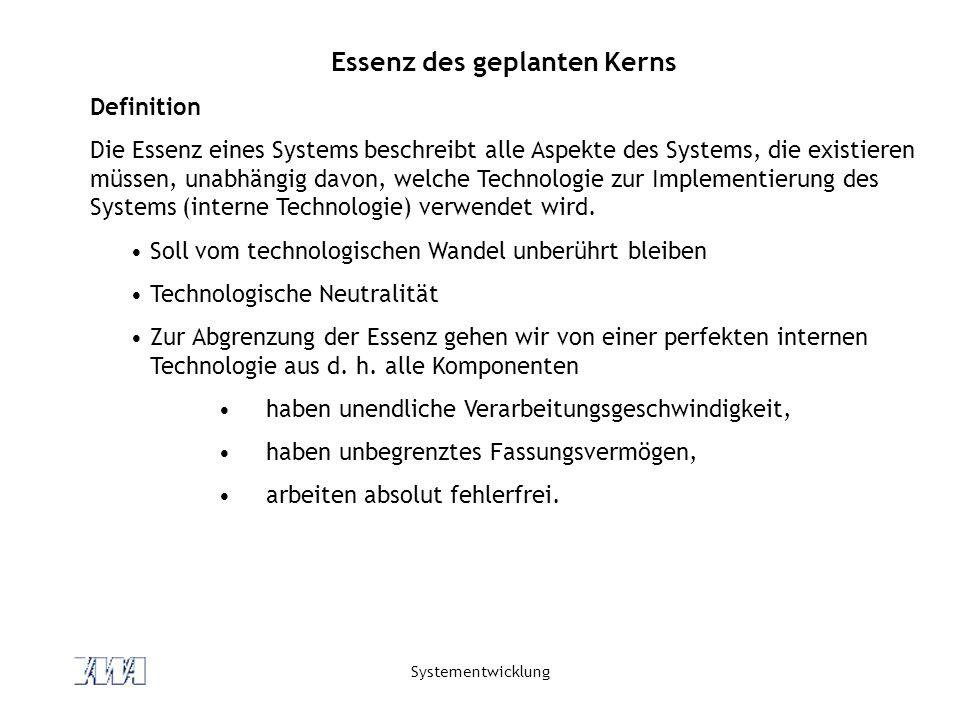 Systementwicklung Essenz des geplanten Kerns Definition Die Essenz eines Systems beschreibt alle Aspekte des Systems, die existieren müssen, unabhängig davon, welche Technologie zur Implementierung des Systems (interne Technologie) verwendet wird.