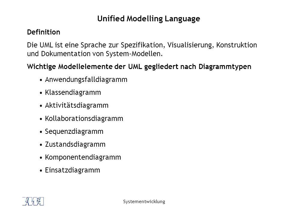 Systementwicklung Unified Modelling Language Definition Die UML ist eine Sprache zur Spezifikation, Visualisierung, Konstruktion und Dokumentation von System-Modellen.