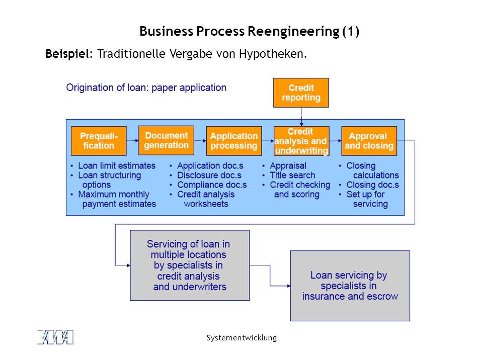 Systementwicklung Business Process Reengineering (1) Beispiel: Traditionelle Vergabe von Hypotheken.