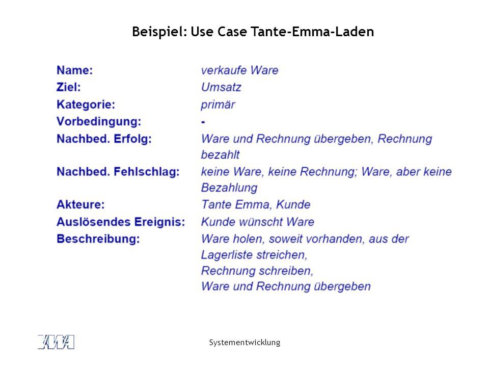 Systementwicklung Beispiel: Use Case Tante-Emma-Laden