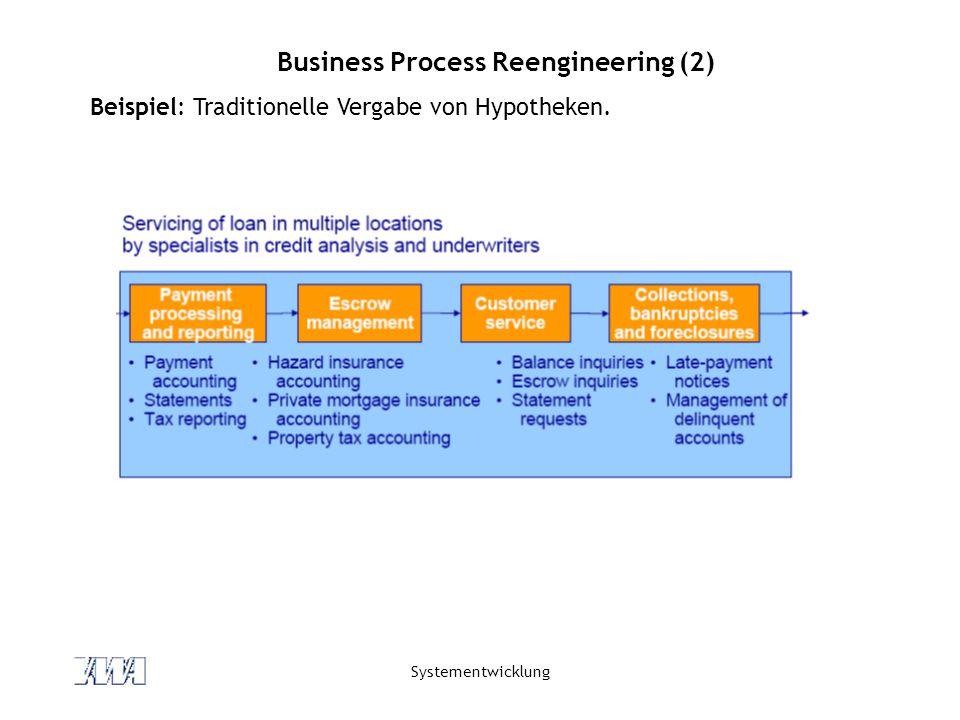 Systementwicklung Business Process Reengineering (2) Beispiel: Traditionelle Vergabe von Hypotheken.