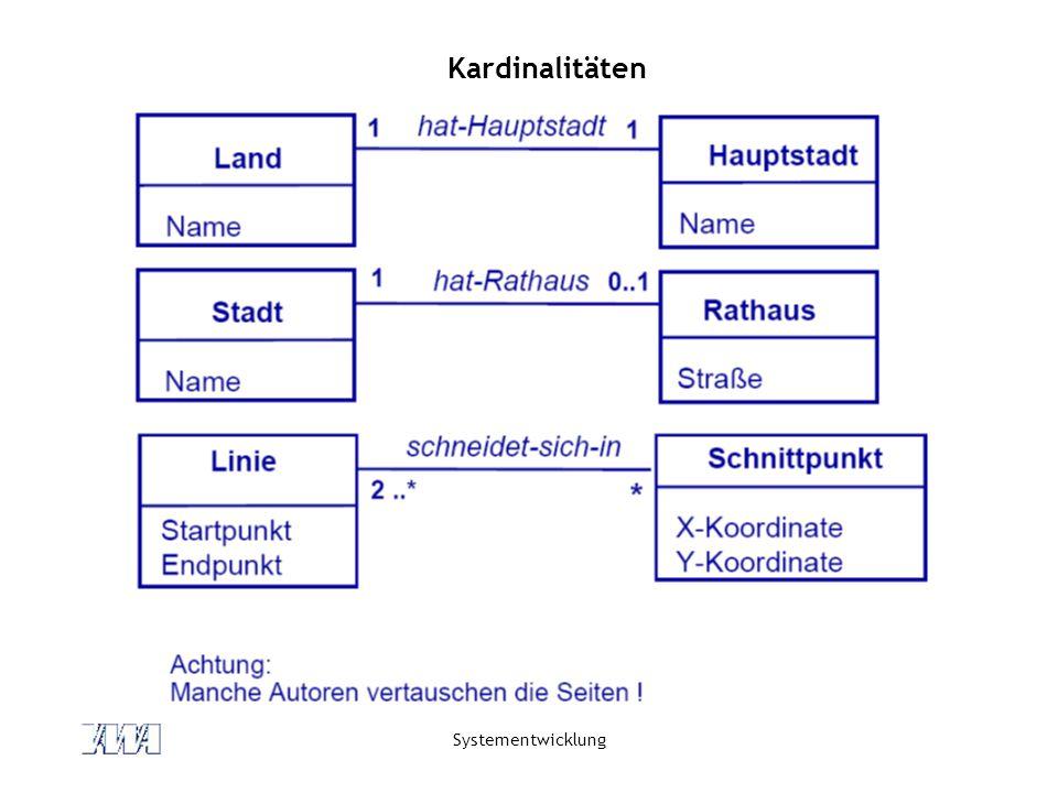 Systementwicklung Kardinalitäten
