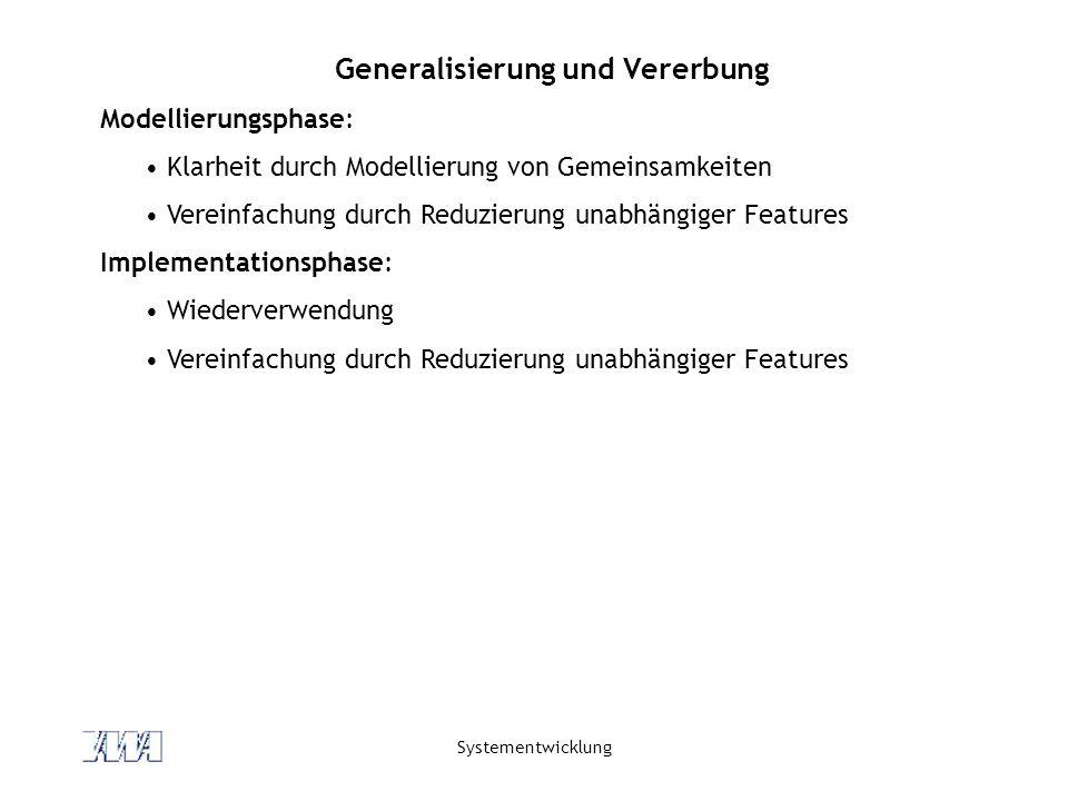 Systementwicklung Generalisierung und Vererbung Modellierungsphase: Klarheit durch Modellierung von Gemeinsamkeiten Vereinfachung durch Reduzierung unabhängiger Features Implementationsphase: Wiederverwendung Vereinfachung durch Reduzierung unabhängiger Features