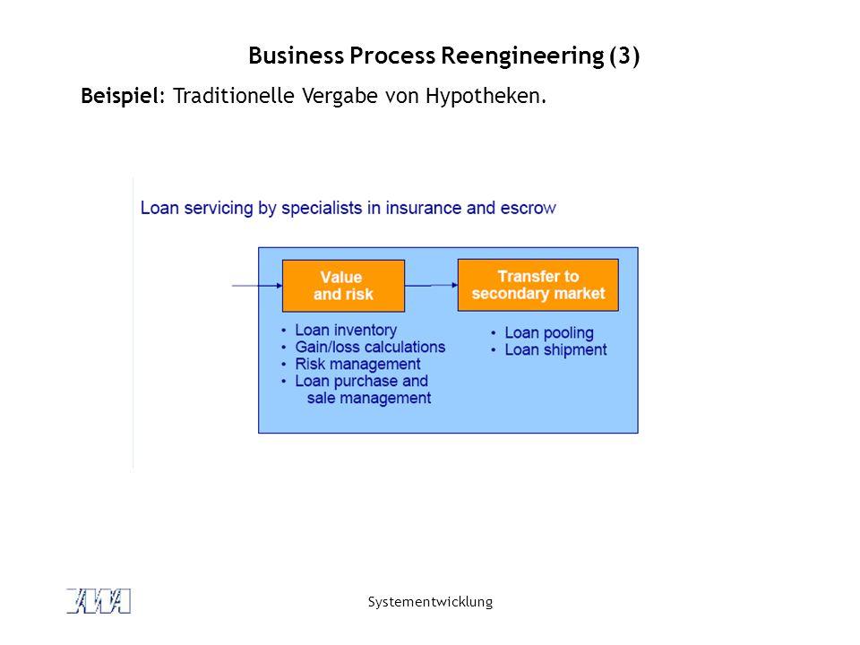 Systementwicklung Business Process Reengineering (3) Beispiel: Traditionelle Vergabe von Hypotheken.