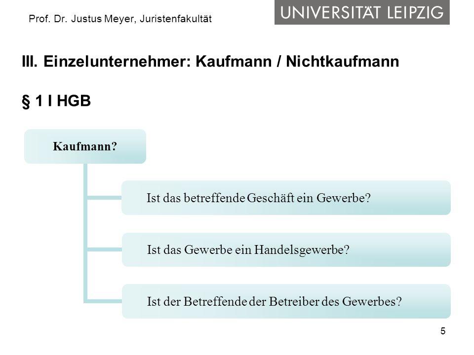 5 Prof. Dr. Justus Meyer, Juristenfakultät III. Einzelunternehmer: Kaufmann / Nichtkaufmann § 1 I HGB Kaufmann? Ist das betreffende Geschäft ein Gewer