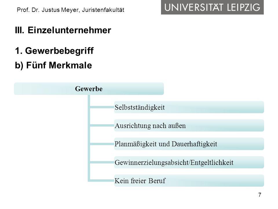 7 Prof. Dr. Justus Meyer, Juristenfakultät III. Einzelunternehmer 1. Gewerbebegriff b) Fünf Merkmale Gewerbe Selbstständigkeit Ausrichtung nach außen