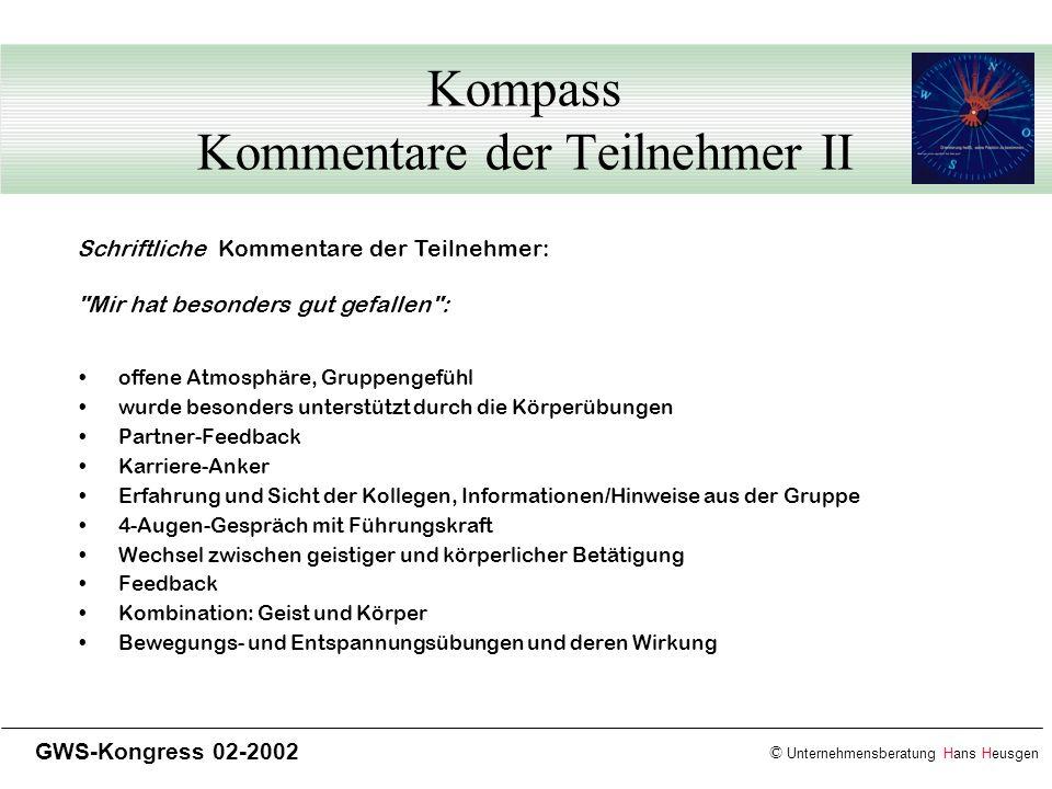 © Unternehmensberatung Hans Heusgen GWS-Kongress 02-2002 Kompass Kommentare der Teilnehmer II offene Atmosphäre, Gruppengefühl wurde besonders unterst