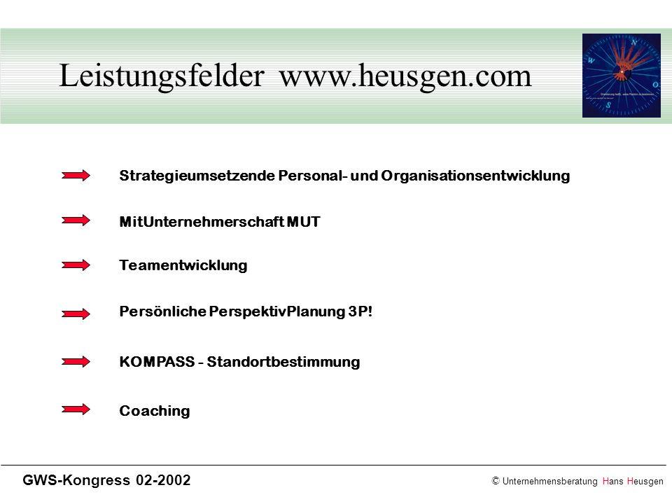 © Unternehmensberatung Hans Heusgen GWS-Kongress 02-2002 Leistungsfelder www.heusgen.com Strategieumsetzende Personal- und Organisationsentwicklung Te