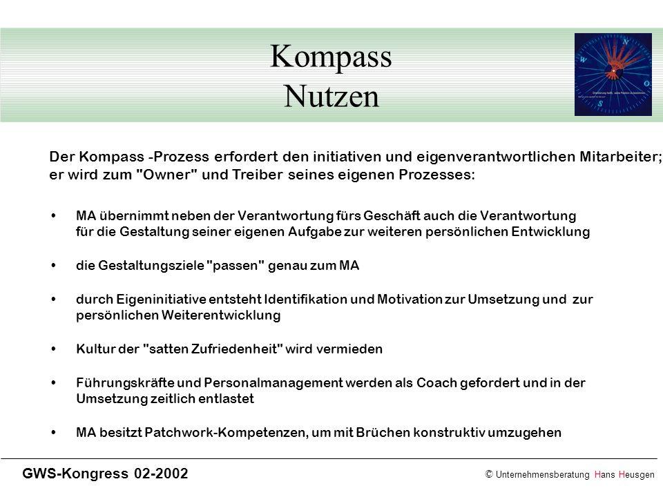 © Unternehmensberatung Hans Heusgen GWS-Kongress 02-2002 Kompass Nutzen MA übernimmt neben der Verantwortung fürs Geschäft auch die Verantwortung für
