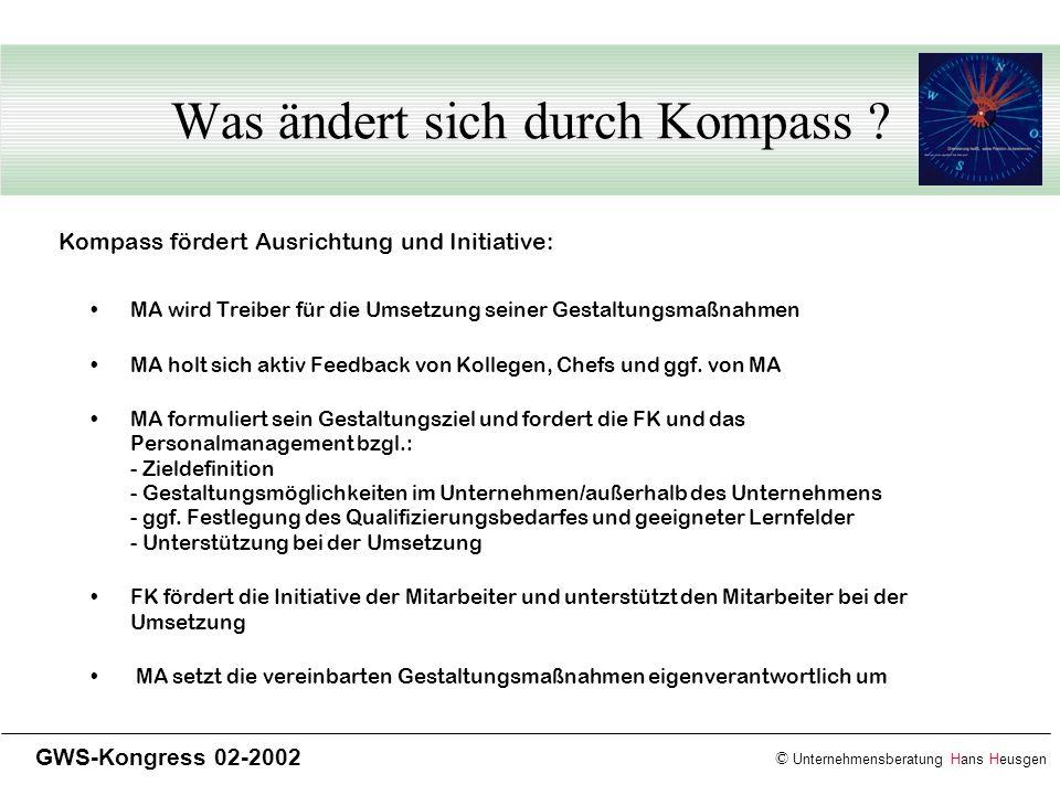 © Unternehmensberatung Hans Heusgen GWS-Kongress 02-2002 Was ändert sich durch Kompass ? MA wird Treiber für die Umsetzung seiner Gestaltungsmaßnahmen