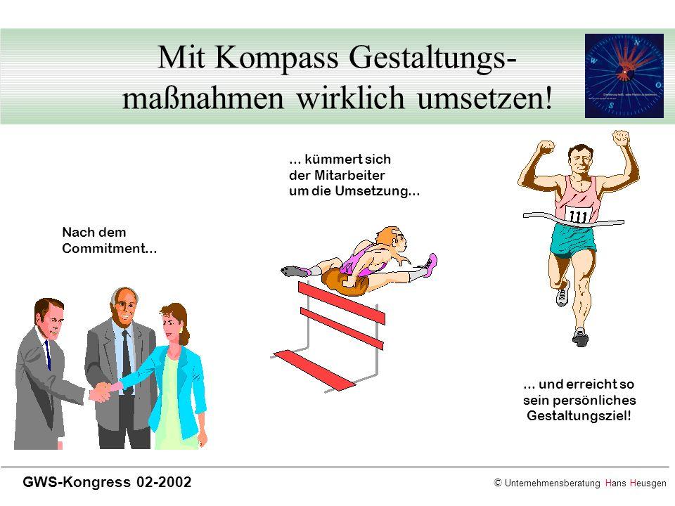 © Unternehmensberatung Hans Heusgen GWS-Kongress 02-2002 Mit Kompass Gestaltungs- maßnahmen wirklich umsetzen! Nach dem Commitment...... kümmert sich