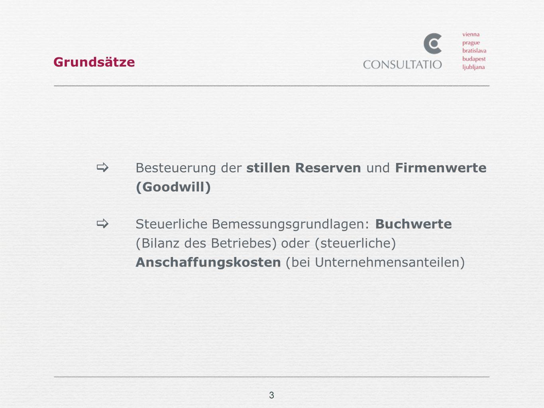 3 Grundsätze Besteuerung der stillen Reserven und Firmenwerte (Goodwill) Steuerliche Bemessungsgrundlagen: Buchwerte (Bilanz des Betriebes) oder (steu