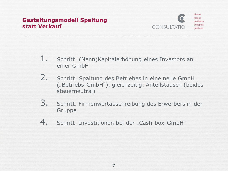 7 Gestaltungsmodell Spaltung statt Verkauf 1. Schritt: (Nenn)Kapitalerhöhung eines Investors an einer GmbH 2. Schritt: Spaltung des Betriebes in eine