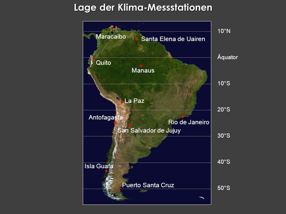 Lage der Klima-Messstationen Antofagasta Isla Guafa Manaus La Paz Maracaibo Puerto Santa Cruz Quito Rio de Janeiro San Salvador de Jujuy Santa Elena d