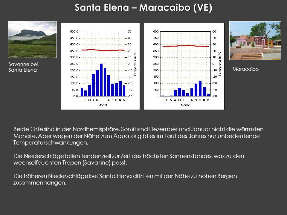Santa Elena – Maracaibo (VE) Beide Orte sind in der Nordhemisphäre. Somit sind Dezember und Januar nicht die wärmsten Monate. Aber wegen der Nähe zum