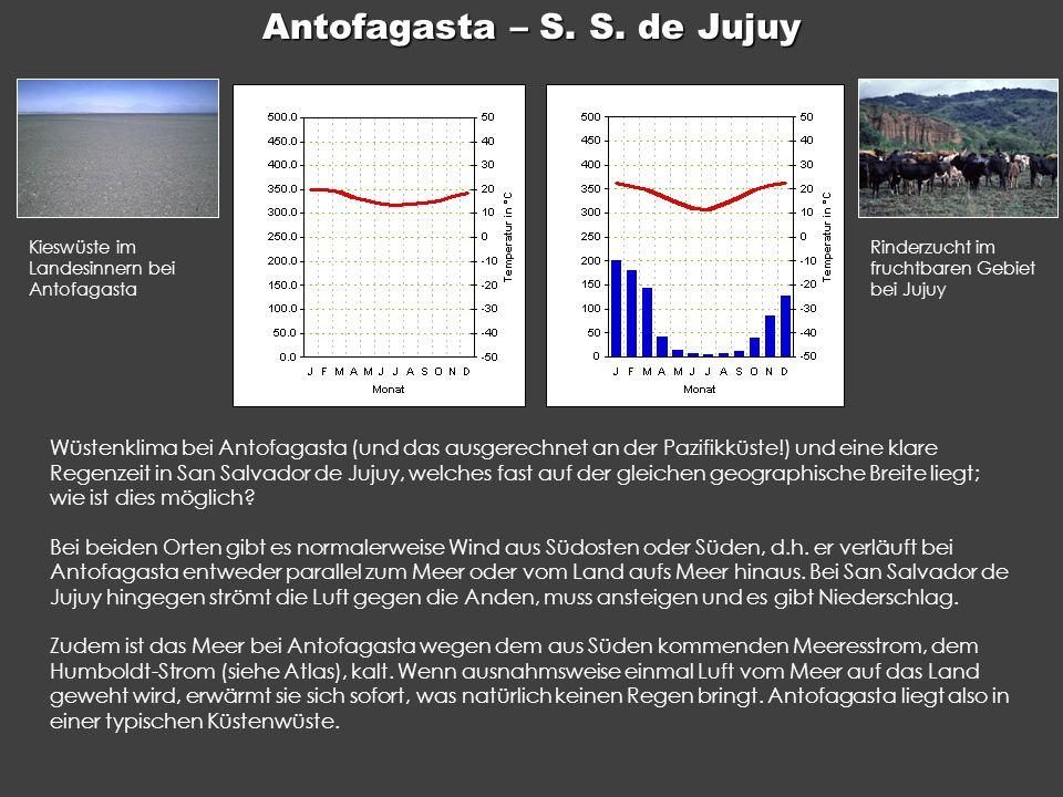 Antofagasta – S. S. de Jujuy Wüstenklima bei Antofagasta (und das ausgerechnet an der Pazifikküste!) und eine klare Regenzeit in San Salvador de Jujuy