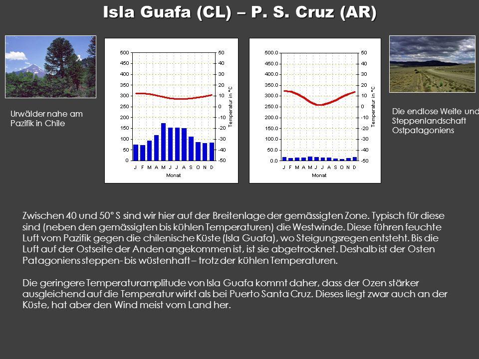 Isla Guafa (CL) – P. S. Cruz (AR) Zwischen 40 und 50° S sind wir hier auf der Breitenlage der gemässigten Zone. Typisch für diese sind (neben den gemä