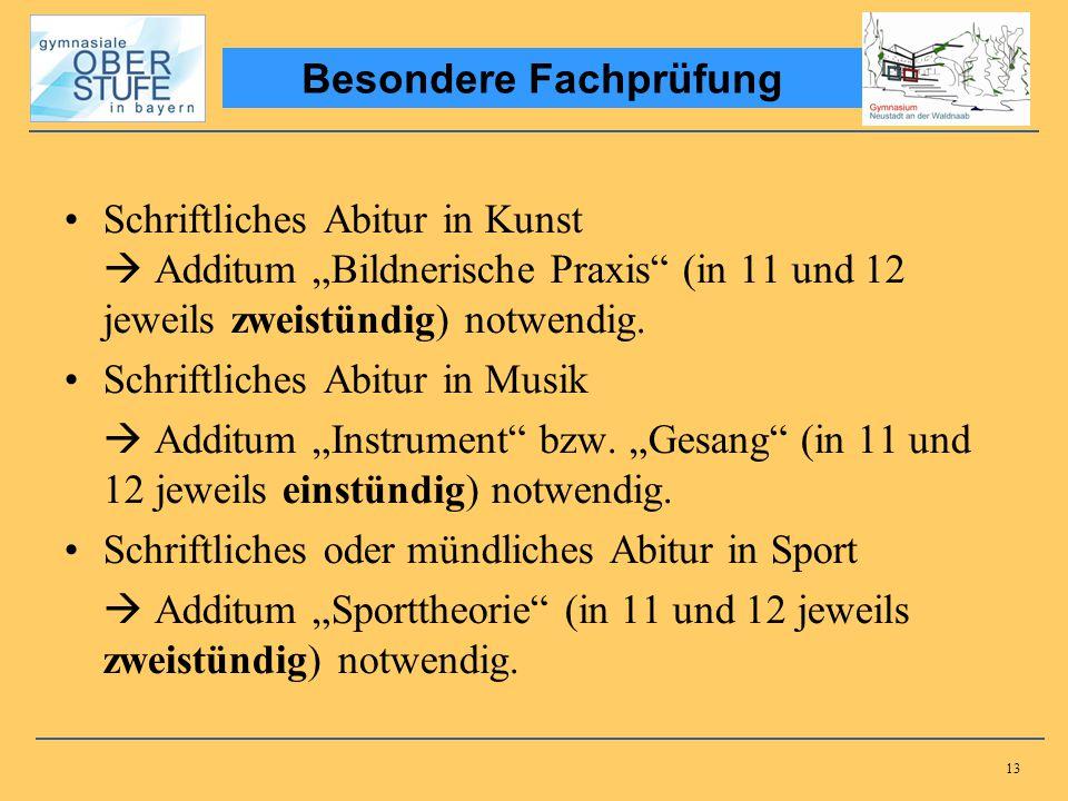 13 Schriftliches Abitur in Kunst Additum Bildnerische Praxis (in 11 und 12 jeweils zweistündig) notwendig. Schriftliches Abitur in Musik Additum Instr