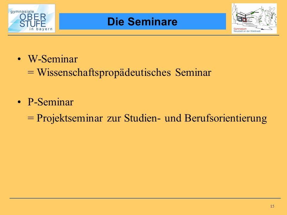 15 W-Seminar = Wissenschaftspropädeutisches Seminar P-Seminar = Projektseminar zur Studien- und Berufsorientierung Die Seminare