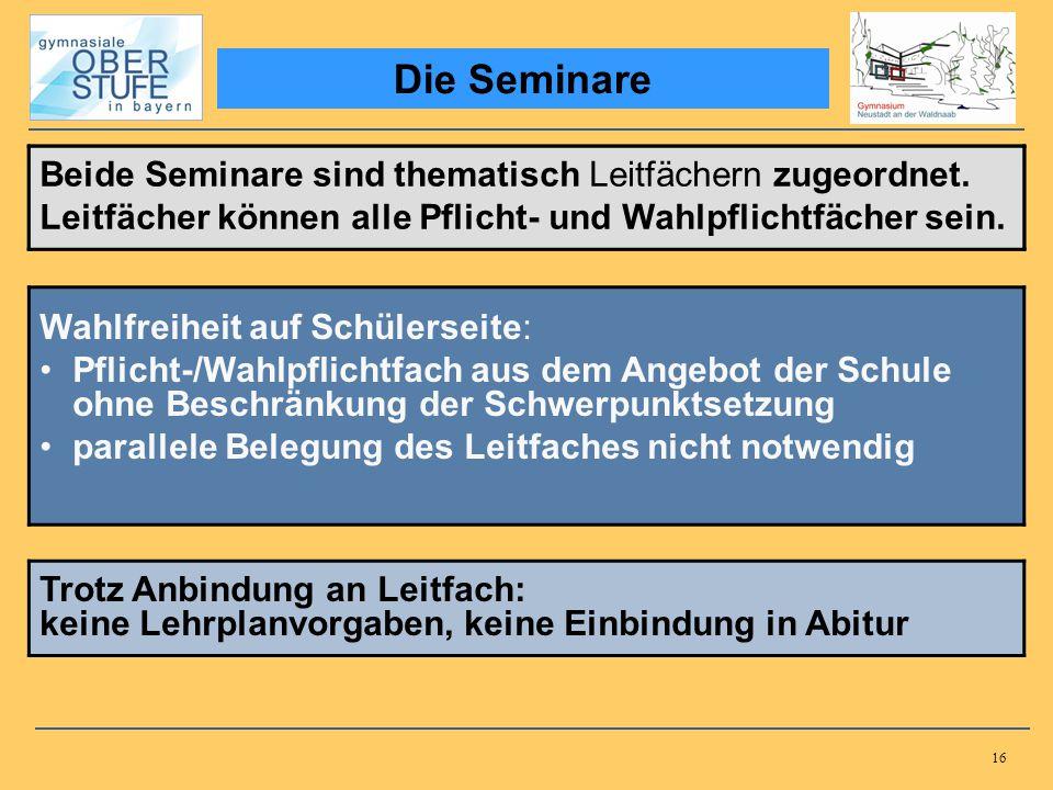 16 Die Seminare Beide Seminare sind thematisch Leitfächern zugeordnet. Leitfächer können alle Pflicht- und Wahlpflichtfächer sein. Beide Seminare sind