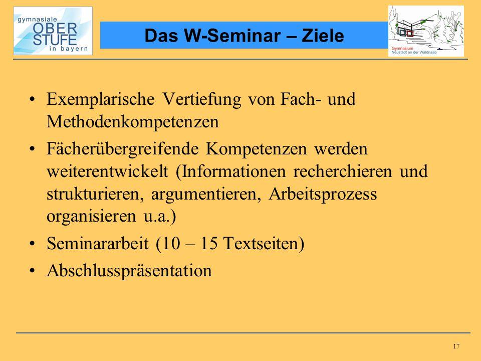 17 Exemplarische Vertiefung von Fach- und Methodenkompetenzen Fächerübergreifende Kompetenzen werden weiterentwickelt (Informationen recherchieren und