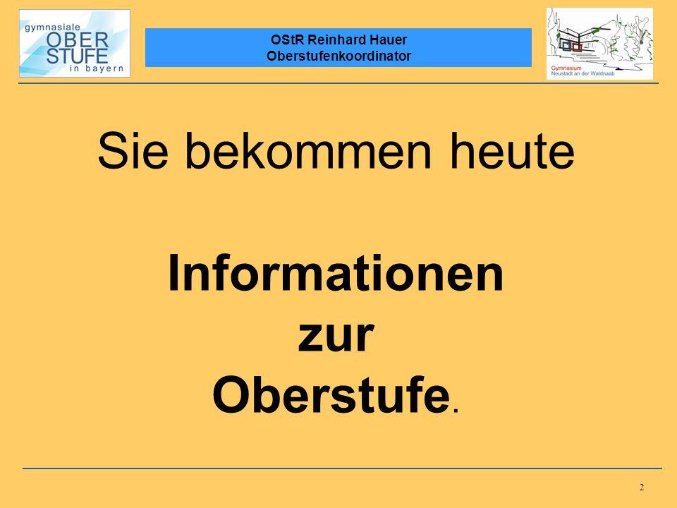 2 OStR Reinhard Hauer Oberstufenkoordinator Sie bekommen heute Informationen zur Oberstufe.