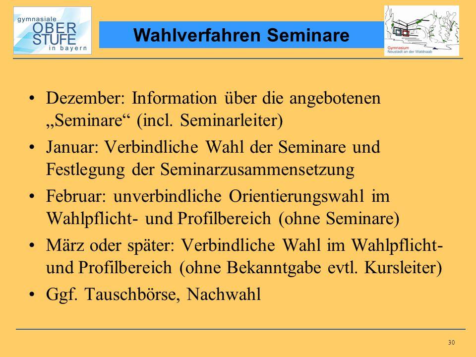 30 Dezember: Information über die angebotenen Seminare (incl. Seminarleiter) Januar: Verbindliche Wahl der Seminare und Festlegung der Seminarzusammen