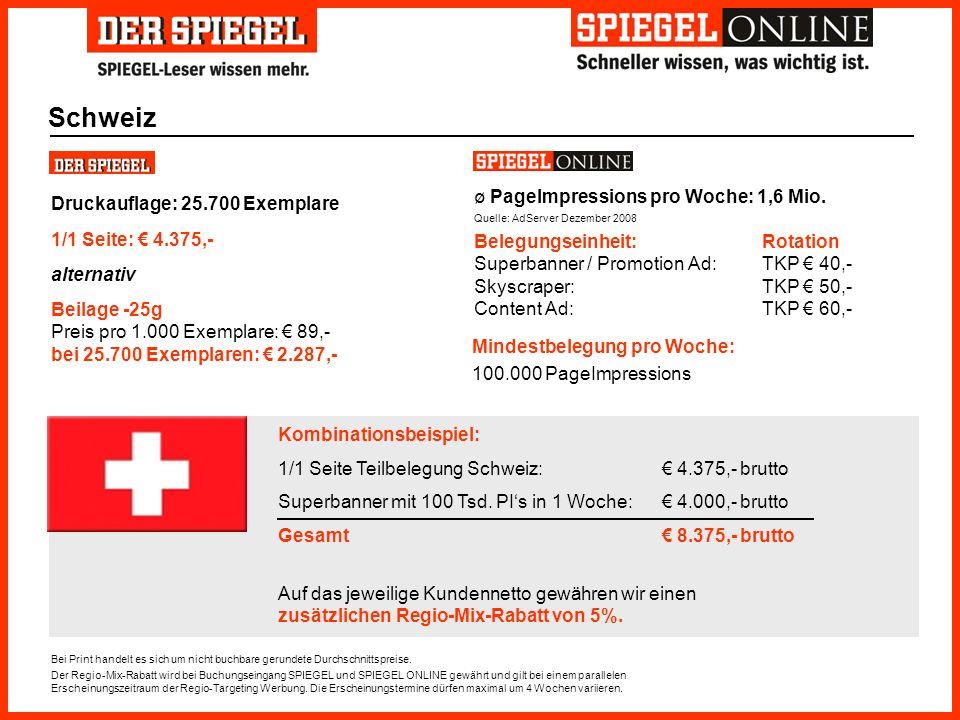 Kombinationsbeispiel: 1/1 Seite Teilbelegung Schweiz: 4.375,- brutto Superbanner mit 100 Tsd. PIs in 1 Woche: 4.000,- brutto Gesamt 8.375,- brutto Auf