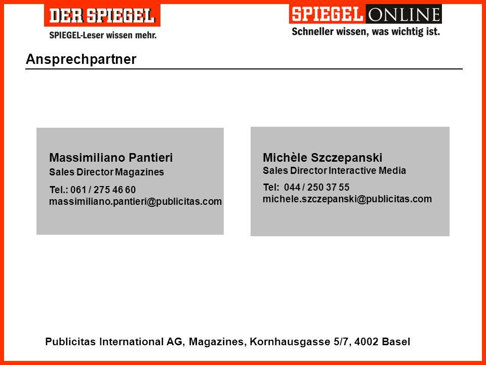 Ansprechpartner Michèle Szczepanski Sales Director Interactive Media Tel: 044 / 250 37 55 michele.szczepanski@publicitas.com Massimiliano Pantieri Sal