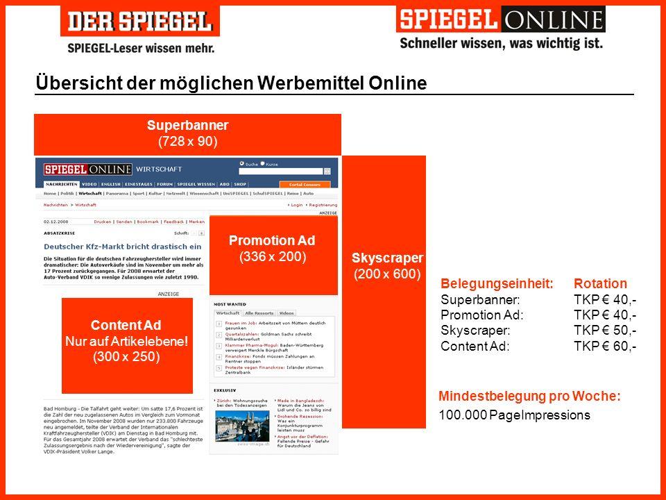 Übersicht der möglichen Werbemittel Online Superbanner (728 x 90) Skyscraper (200 x 600) Promotion Ad (336 x 200) Content Ad Nur auf Artikelebene! (30
