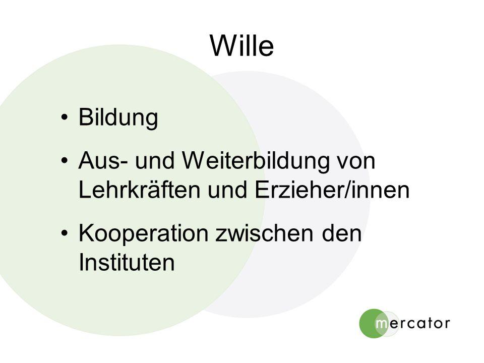 Wille Bildung Aus- und Weiterbildung von Lehrkräften und Erzieher/innen Kooperation zwischen den Instituten