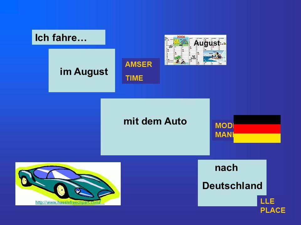 MODD MANNER Ich fahre… http://www.hasslefreeclipart.com / August nach Deutschland August http://www.hasslefreeclipart.com / mit dem Auto im August AMS