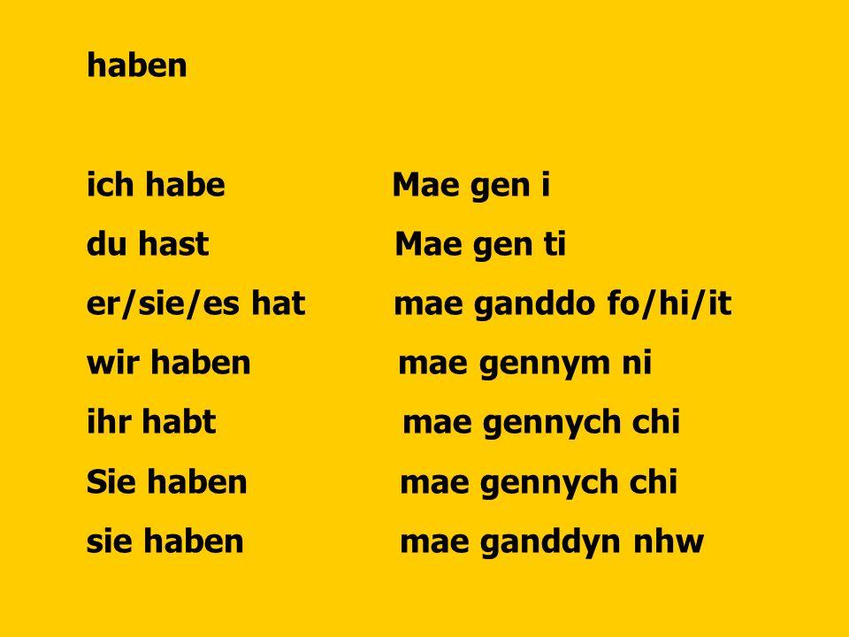 haben ich habe Mae gen i du hast Mae gen ti er/sie/es hat mae ganddo fo/hi/it wir haben mae gennym ni ihr habt mae gennych chi Sie haben mae gennych chi sie haben mae ganddyn nhw