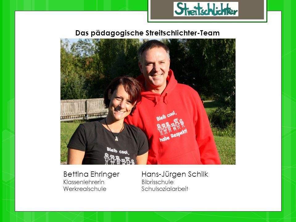 Das pädagogische Streitschlichter-Team Bettina Ehringer Hans-Jürgen Schilk KlassenlehrerinBibrisschule Werkrealschule Schulsozialarbeit