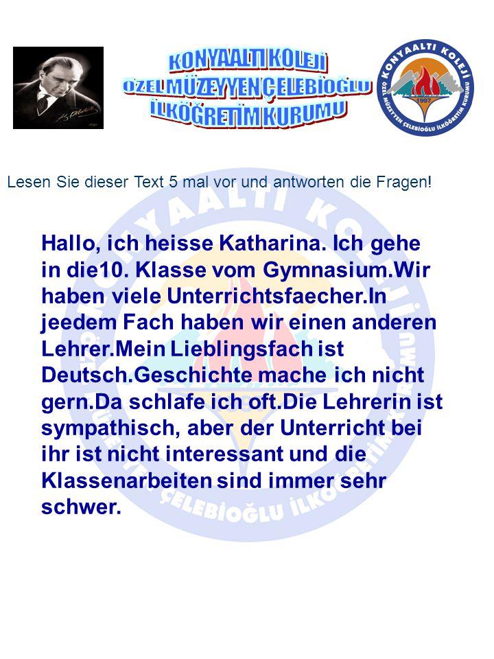Hallo, ich heisse Katharina. Ich gehe in die10. Klasse vom Gymnasium.Wir haben viele Unterrichtsfaecher.In jeedem Fach haben wir einen anderen Lehrer.