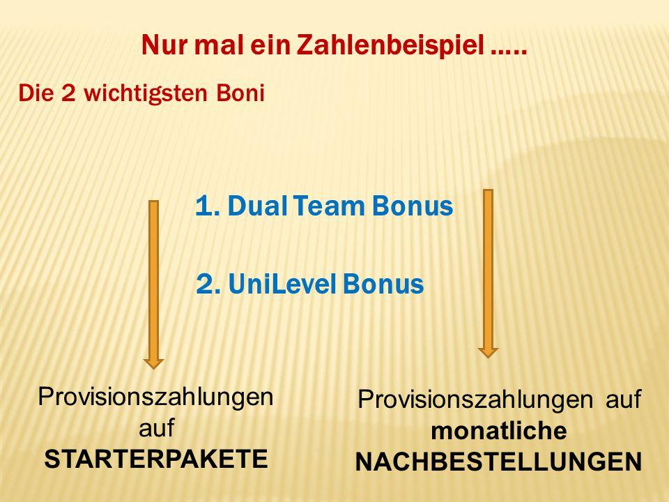 Nur mal ein Zahlenbeispiel ….. 1. Dual Team Bonus Provisionszahlungen auf STARTERPAKETE 2. UniLevel Bonus Provisionszahlungen auf monatliche NACHBESTE